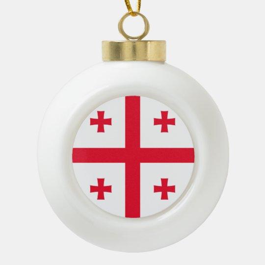 Georgia Flag Ceramic Ball Christmas Ornament