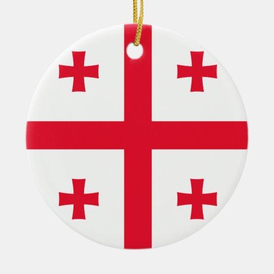 Georgia Flag Round Ceramic Decoration