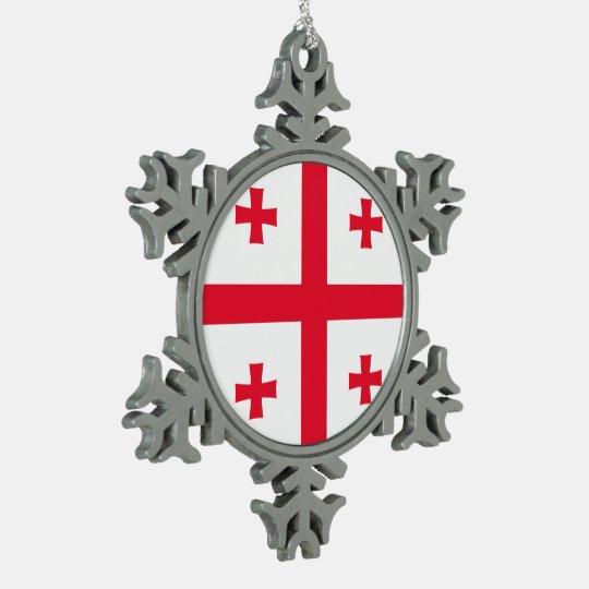Georgia Flag Snowflake Pewter Christmas Ornament