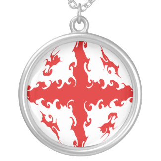 Georgia Gnarly Flag Round Pendant Necklace