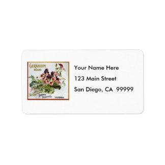 Geranium Brand Fruit Crate Label Address Label
