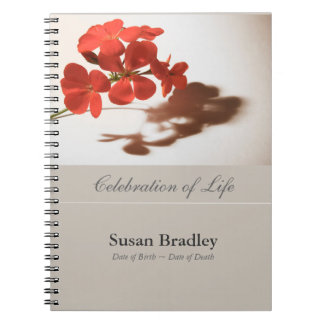 Geranium Floral Photography Funeral GuestBook Spiral Note Book