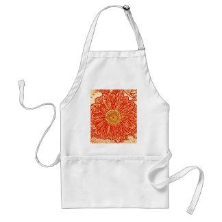 Gerbera Daisy Block Print - saffron orange Aprons