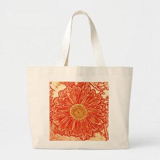 Gerbera Daisy Block Print - saffron orange Bags