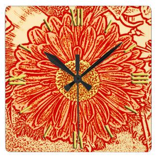 Gerbera Daisy Block Print - saffron orange Clock