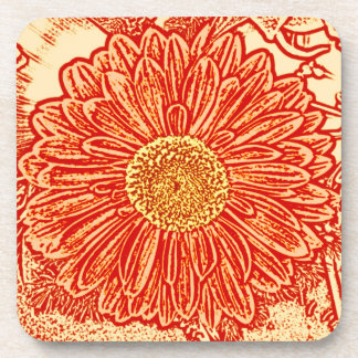Gerbera Daisy Block Print - saffron orange Coaster