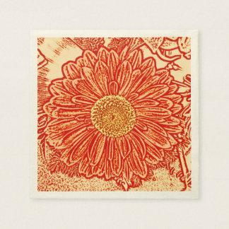 Gerbera Daisy Block Print - saffron orange Disposable Napkin