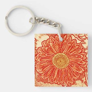 Gerbera Daisy Block Print - saffron orange Keychain