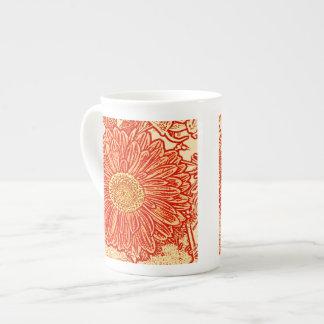 Gerbera Daisy Block Print - saffron orange Bone China Mug