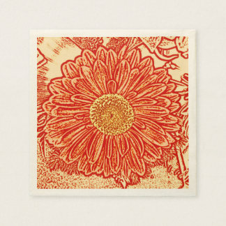 Gerbera Daisy Block Print - saffron orange Paper Napkin