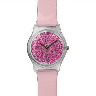 Gerbera Daisy Block Print - shades of pink Watch