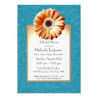 "Gerbera Daisy Blue and Orange 5"" X 7"" Invitation Card"