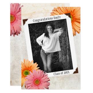 Gerbera Daisy Daughters Photo Graduation Card