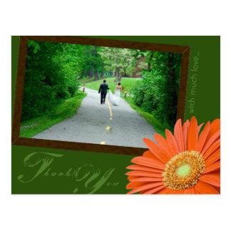 Gerbera Daisy Orange & Green Thank You Wedding Postcard
