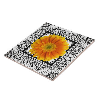 Gerbera Daisy Orange Tile