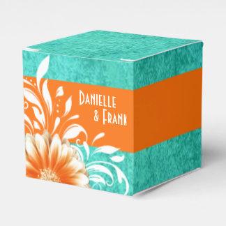 Gerbera Daisy Scroll   orange turquoise Favor Boxes