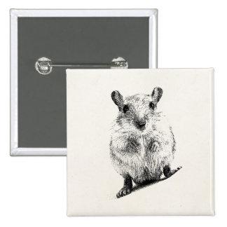 Gerbil Baby Animal Illustration Pet Gerbils 15 Cm Square Badge