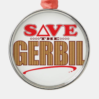 Gerbil Save Silver-Colored Round Decoration
