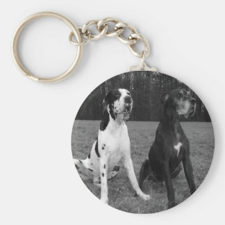 German Dogge, great dane, Hunde, Dogue Allemand Basic Round Button Key Ring
