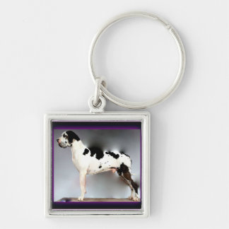 German Dogge, great dane, Hunde, Dogue Allemand Silver-Colored Square Key Ring