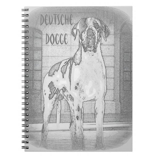 German Dogge, great dane, Hunde, Harlekin Spiral Notebooks