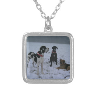 German Dogge, great dane, Hunde, Weihnachten Square Pendant Necklace