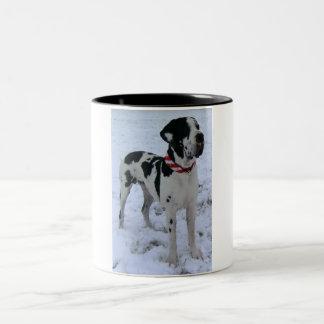 German Dogge, great dane, Hunde, Weihnachten Two-Tone Mug
