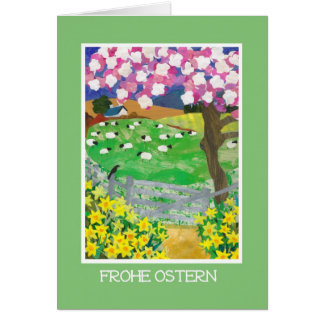 German Easter Card with Countryside in Spring