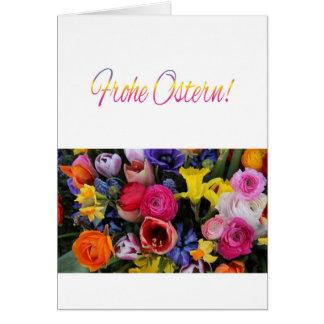 German Happy Easter Springflower bouquet Greeting Card