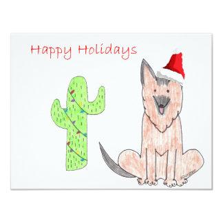 German Shepard Dog Cactus Christmas Invitations