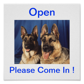 German Shepherd Dog Open Sign For Business