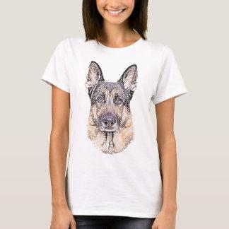 German Shepherd Dog Sketched Artwork T-Shirt