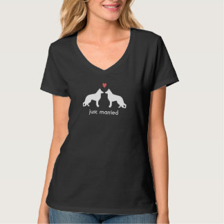 German Shepherd Dogs with Heart and Custom Text T-Shirt