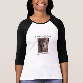 German Shepherd Ladies 3/4 Sleeve Raglan (Fitted) T-Shirt