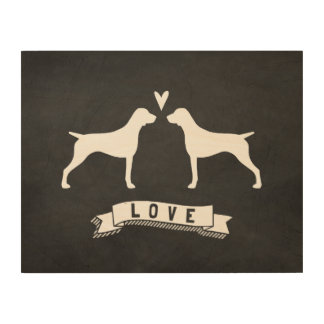 German Shorthaired Pointer Silhouettes Love Wood Canvases