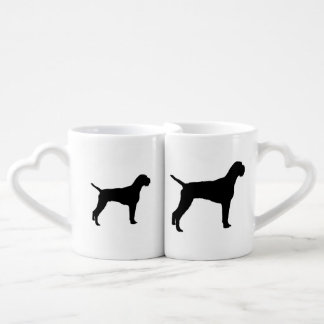 German wire-haired Pointer dog Silhouette Lovers Mugs