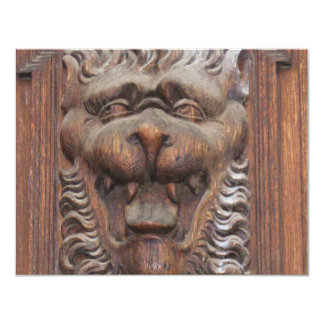 German WOOD CARVING - LION Medieval architecture 4.25x5.5 Paper Invitation Card