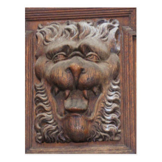 German WOOD CARVING - LION Medieval architecture Postcard