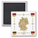 Germany Map + Flags Magnet