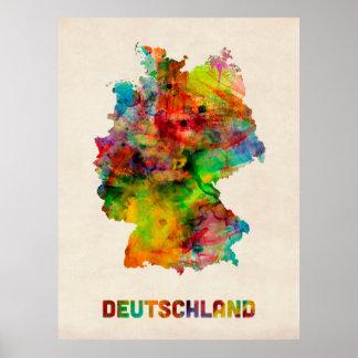 Germany Watercolor Map (Deutschland) Poster