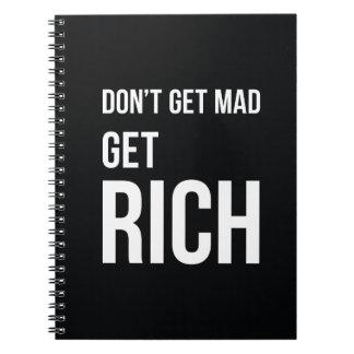 Get Rich Business Motivation Notebook White Black