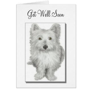 'Get Well Soon' cute westie dog card
