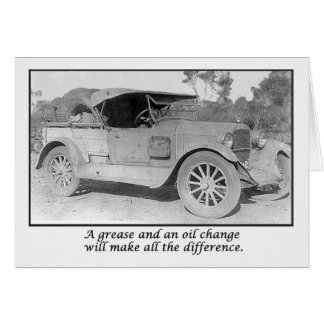 Get well soon, vintace car waiting for service. greeting card