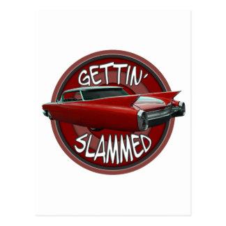 gettin slammed 1960 Cadillac Rollin red lowrider Postcard