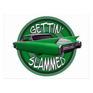 getting slammed 1960 Cadillac green mamba Postcard