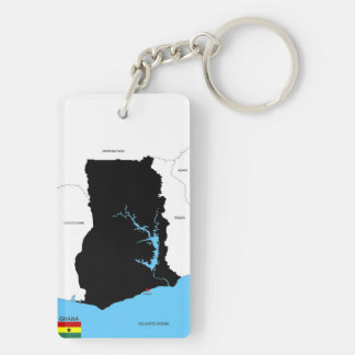 ghana country map flag key ring