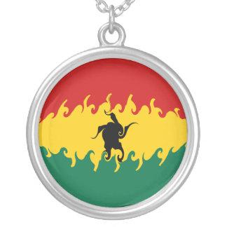Ghana Gnarly Flag Round Pendant Necklace