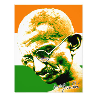 Ghandi in orange green and white with flag 21.5 cm x 28 cm flyer