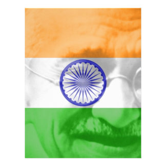 Ghandi on Indian Flag 21.5 Cm X 28 Cm Flyer