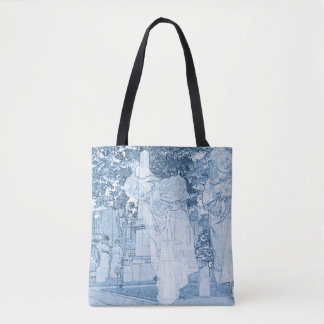 Ghost Girls Escaping Cemetery vintage Art Death Tote Bag